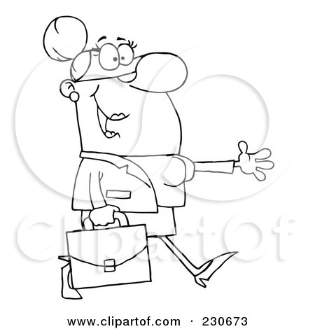Royalty-Free (RF) Clipart Illustration of a Coloring Page Outline Of A Businesswoman Walking And Holding Her Arm Out by Hit Toon