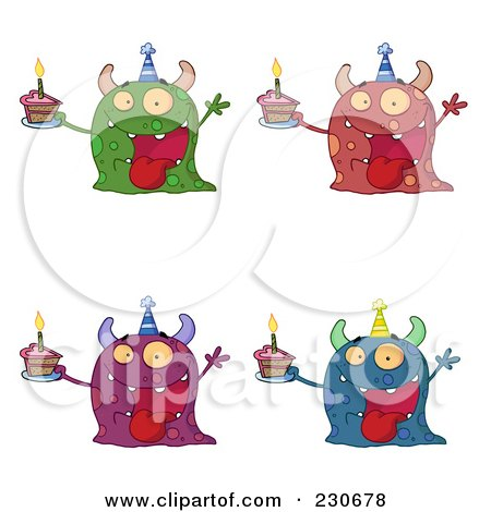 Royalty-Free (RF) Clipart Illustration of a Digital Collage Of Four Birthday Monsters by Hit Toon