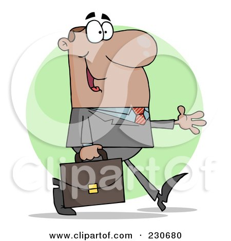 Royalty-Free (RF) Clipart Illustration of a Hispanic Businessman Walking With His Hand Out Over A Green Circle by Hit Toon