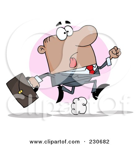 Royalty-Free (RF) Clipart Illustration of a Late Hispanic Businessman Running With A Briefcase Over A Pink Circle by Hit Toon