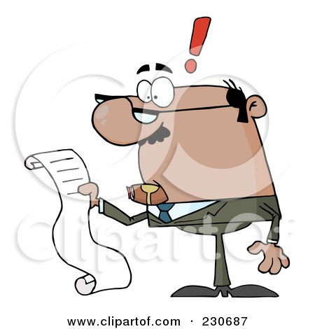 Royalty-Free (RF) Clipart Illustration of a Black Businessman Reading A Long List Or Bill by Hit Toon
