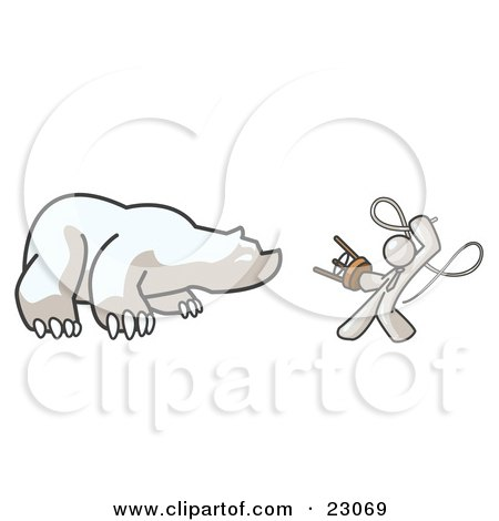 Clipart Illustration of a White Man Holding a Stool and Whip While Taming a Bear, Bear Market by Leo Blanchette