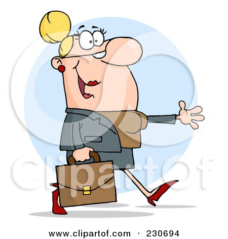 Royalty-Free (RF) Clipart Illustration of a Caucasian Business Woman Walking And Holding Her Arm Out Over A Blue Circle by Hit Toon