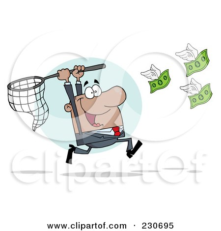 Royalty-Free (RF) Clipart Illustration of a Hispanic Businessman Chasing Flying Money With A Net by Hit Toon