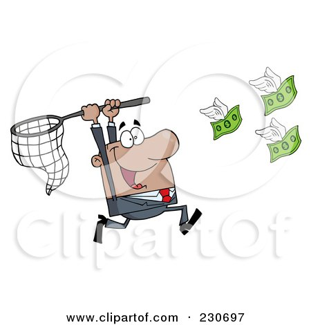 Royalty-Free (RF) Clipart Illustration of a Black Businessman Chasing Flying Money With A Net by Hit Toon