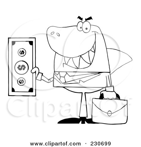 Clipart Of A Shark Businessman Grinning And Holding A