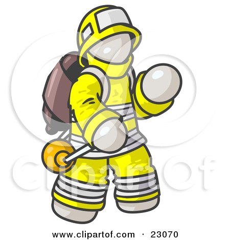Clipart Illustration of a White Fireman in a Uniform, Fighting a Fire by Leo Blanchette