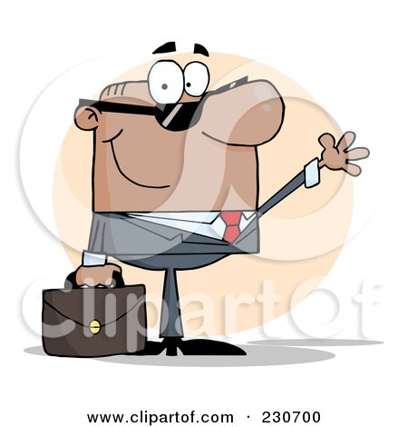 Royalty-Free (RF) Clipart Illustration of a Friendly Hispanic Businessman Wearing Shades And Waving Over An Orange Circle by Hit Toon