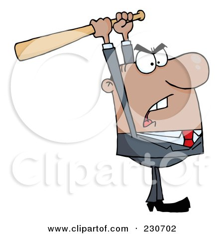 Royalty-Free (RF) Clipart Illustration of a Black Businessman Holding A Bat Over His Head by Hit Toon