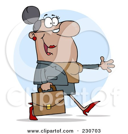 Royalty-Free (RF) Clipart Illustration of a Hispanic Businesswoman Walking And Holding Her Arm Out Over A Blue Circle by Hit Toon