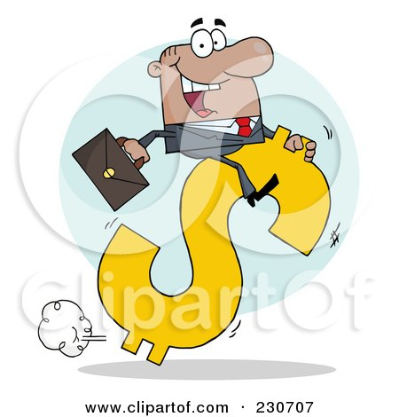 Royalty-Free (RF) Clipart Illustration of a Hispanic Businessman Riding On A Hopping Dollar Symbol Over A Blue Circle by Hit Toon