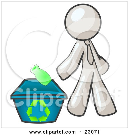 Clipart Illustration of a White Man Tossing A Plastic Container Into A Recycle Bin, Symbolizing Someone Doing Their Part To Help The Environment And To Be Earth Friendly by Leo Blanchette