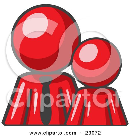 Clipart Illustration of a Red Child Or Employee Standing Beside A Bigger Blue Businessman, Symbolizing Management, Parenting Or Mentorship by Leo Blanchette
