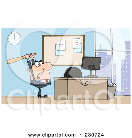 Royalty-Free (RF) Clipart Illustration of a White Businessman Holding A Bat Over A Computer by Hit Toon