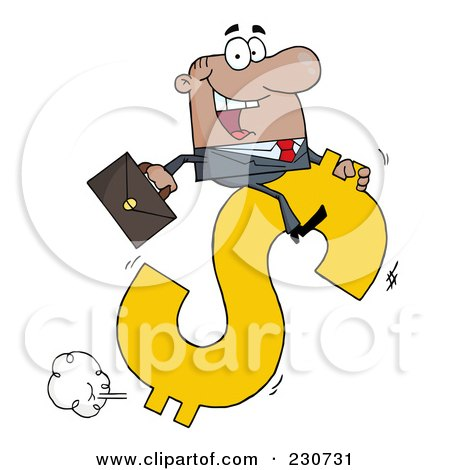 Royalty-Free (RF) Clipart Illustration of a Black Businessman Riding On A Hopping Dollar Symbol by Hit Toon
