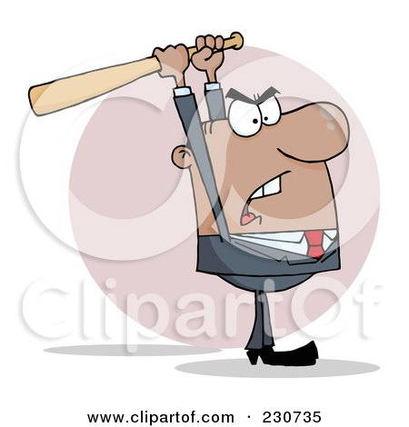 Royalty-Free (RF) Clipart Illustration of a Hispanic Businessman Holding A Bat Over His Head by Hit Toon