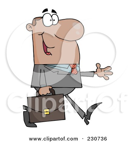 Royalty-Free (RF) Clipart Illustration of a Black Businessman Walking With His Hand Out by Hit Toon