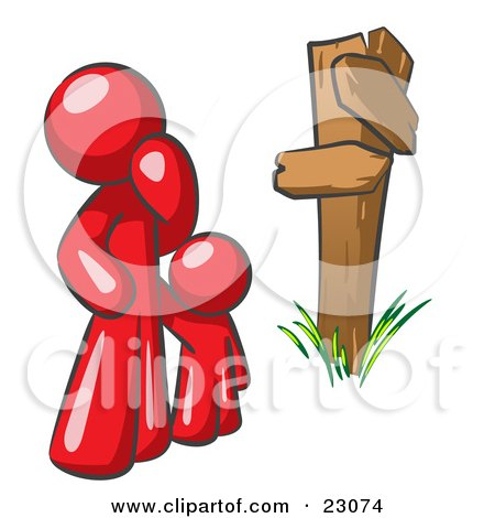 Clipart Illustration of an Uncertain Red Man And Child Standing At A Wooden Post, Trying To Decide Which Direction To Go At A Crossroads by Leo Blanchette