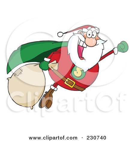 Royalty-Free (RF) Clipart Illustration of a Cauasian Santa Super Hero Flying - 1 by Hit Toon