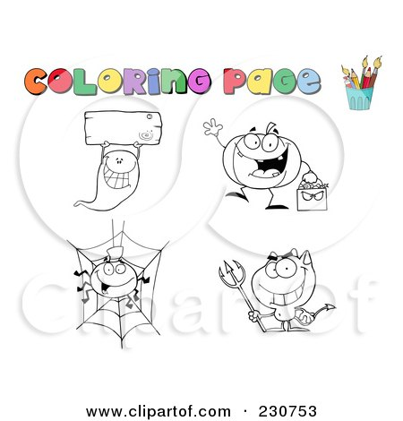 Royalty-Free (RF) Clipart Illustration of a Digital Collage Of Halloween Character Coloring Page Outlines - 2 by Hit Toon