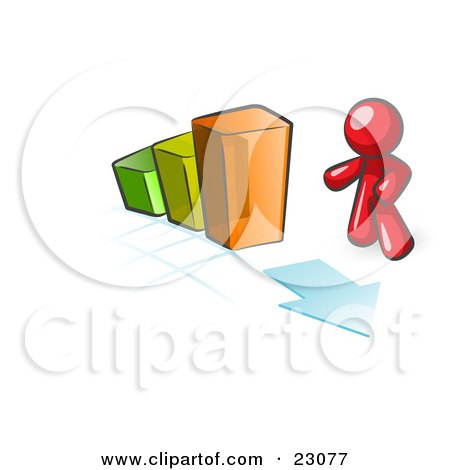 Clipart Illustration of a Red Man Standing By An Increasing Green, Yellow And Orange Bar Graph On A Grid Background With An Arrow by Leo Blanchette