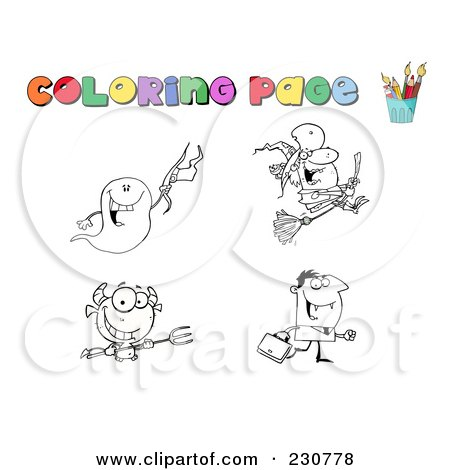 Royalty-Free (RF) Clipart Illustration of a Digital Collage Of Halloween Character Coloring Page Outlines - 1 by Hit Toon