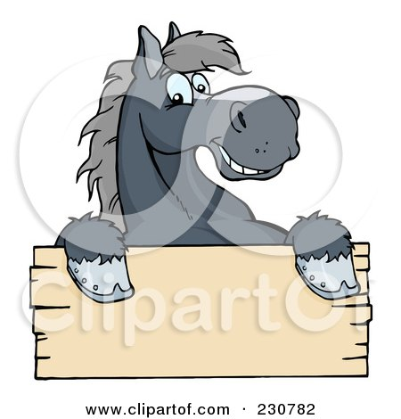 Royalty-Free (RF) Clipart Illustration of a Happy Gray Horse Looking Over A Blank Wood Sign by Hit Toon