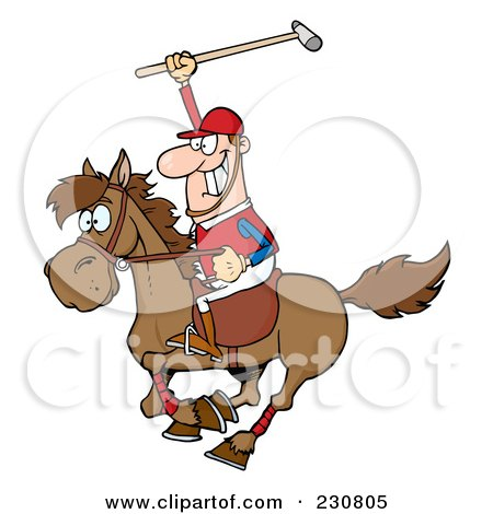 Royalty-Free (RF) Clipart Illustration of a Caucasian Polo Player Holding Up A Stick by Hit Toon