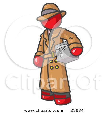 Clipart Illustration of a Secretive Red Man in a Trench Coat and Hat, Carrying a Box With a Question Mark on it by Leo Blanchette
