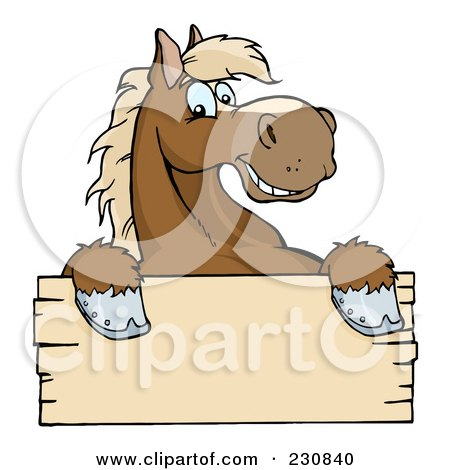 Royalty-Free (RF) Clipart Illustration of a Happy Brown Horse Looking Over A Blank Wood Sign by Hit Toon
