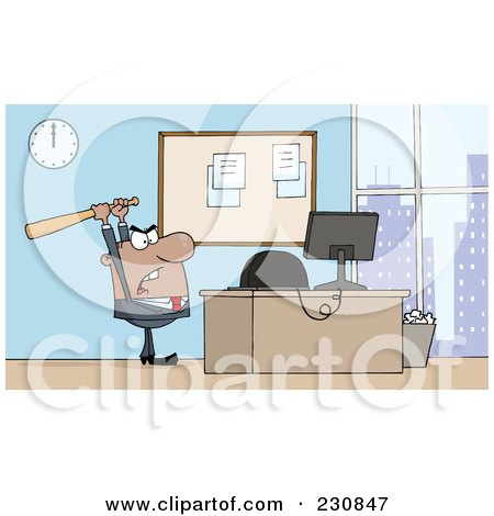 Royalty-Free (RF) Clipart Illustration of a Hispanic Businessman Holding A Bat Over A Computer by Hit Toon