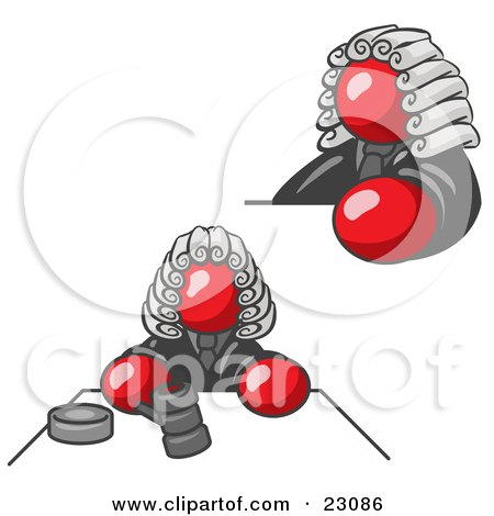 Clipart Illustration of a Red Judge Man Wearing a Wig in Court by Leo Blanchette