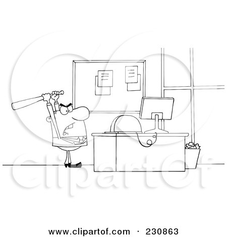 Royalty-Free (RF) Clipart Illustration of a Coloring Page Outline Of A Businessman Holding A Bat Over A Computer by Hit Toon