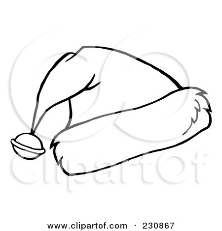 Royalty Free RF Clipart Illustration Of A Coloring Page Outline Bell On Santa Hat By Hit Toon