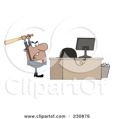 Royalty-Free (RF) Clipart Illustration of a Black Businessman Holding A Bat Over A Computer by Hit Toon