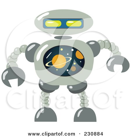 Royalty-Free (RF) Clipart Illustration of a Futuristic Robot - 6 by yayayoyo