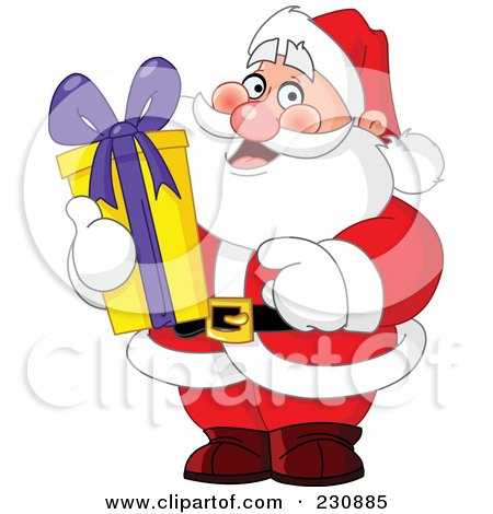 Royalty-Free (RF) Clipart Illustration of Santa Holding A Tall Christmas Gift by yayayoyo