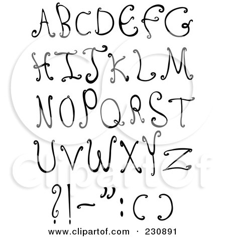 Royalty-Free (RF) Clipart Illustration of a Digital Collage Of Black And White Decorative Capital Letters by yayayoyo