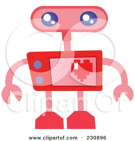 Royalty-Free (RF) Clipart Illustration of a Futuristic Robot - 8 by yayayoyo