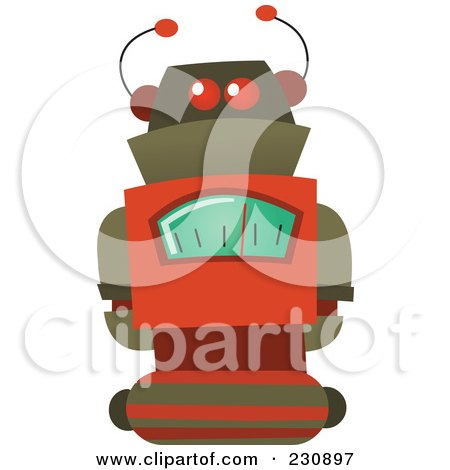 Royalty-Free (RF) Clipart Illustration of a Futuristic Robot - 5 by yayayoyo
