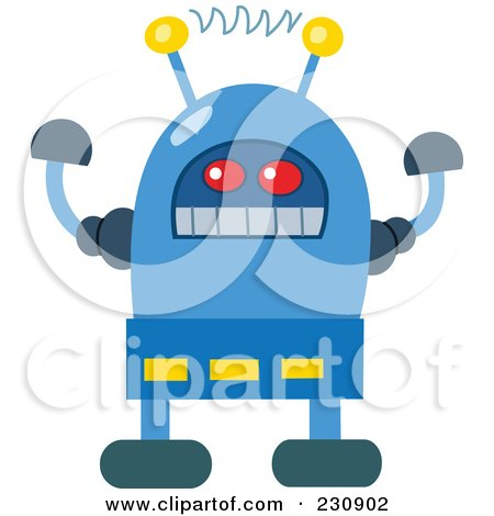 Royalty-Free (RF) Clipart Illustration of a Futuristic Robot - 1 by yayayoyo