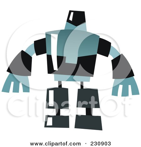 Royalty-Free (RF) Clipart Illustration of a Futuristic Robot - 4 by yayayoyo