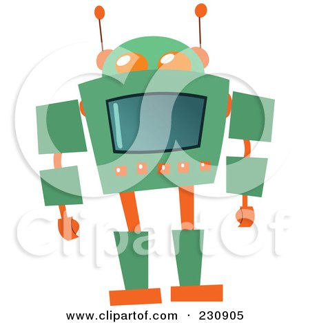 Royalty-Free (RF) Clipart Illustration of a Futuristic Robot - 3 by yayayoyo