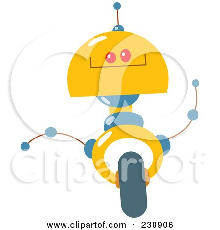 Royalty-Free (RF) Clipart Illustration of a Futuristic Robot - 7 by yayayoyo