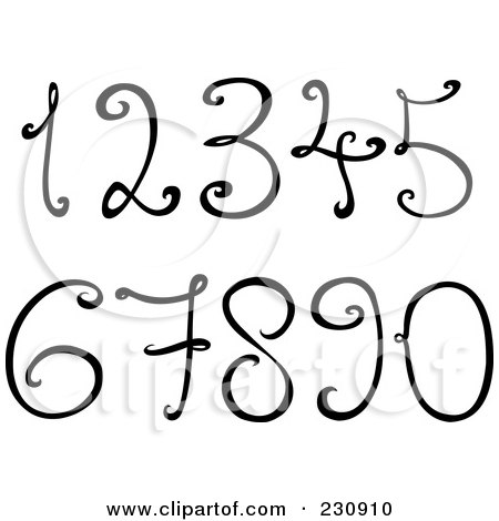 Royalty-Free (RF) Clipart Illustration of a Digital Collage Of Black And White Decorative Numbers by yayayoyo