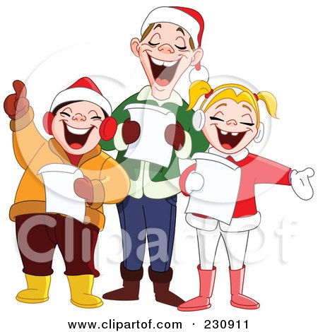Royalty-Free (RF) Clipart Illustration of a Singing Family At Christmas Time