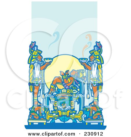 Royalty-Free (RF) Clipart Illustration of a Mayan King Reclined And Two Servants Holding Food by xunantunich