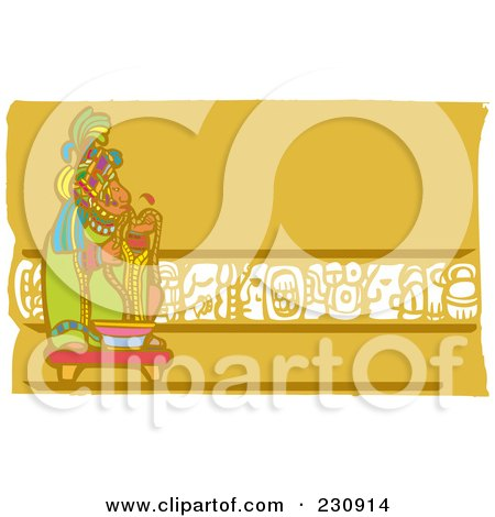 Royalty-Free (RF) Clipart Illustration of a Mayan King With Rope by xunantunich