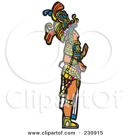 Royalty-Free (RF) Clipart Illustration of a Mayan King Standing In Profile - 1 by xunantunich