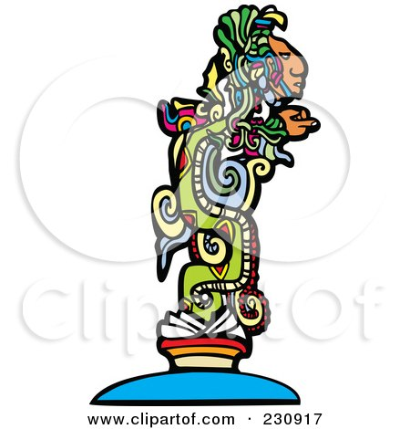 Royalty-Free (RF) Clipart Illustration of a Mayan God - 1 by xunantunich